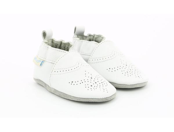 28df153f Chic & Smart - Chaussons Souple blanc en cuir pour bébé fille et ...