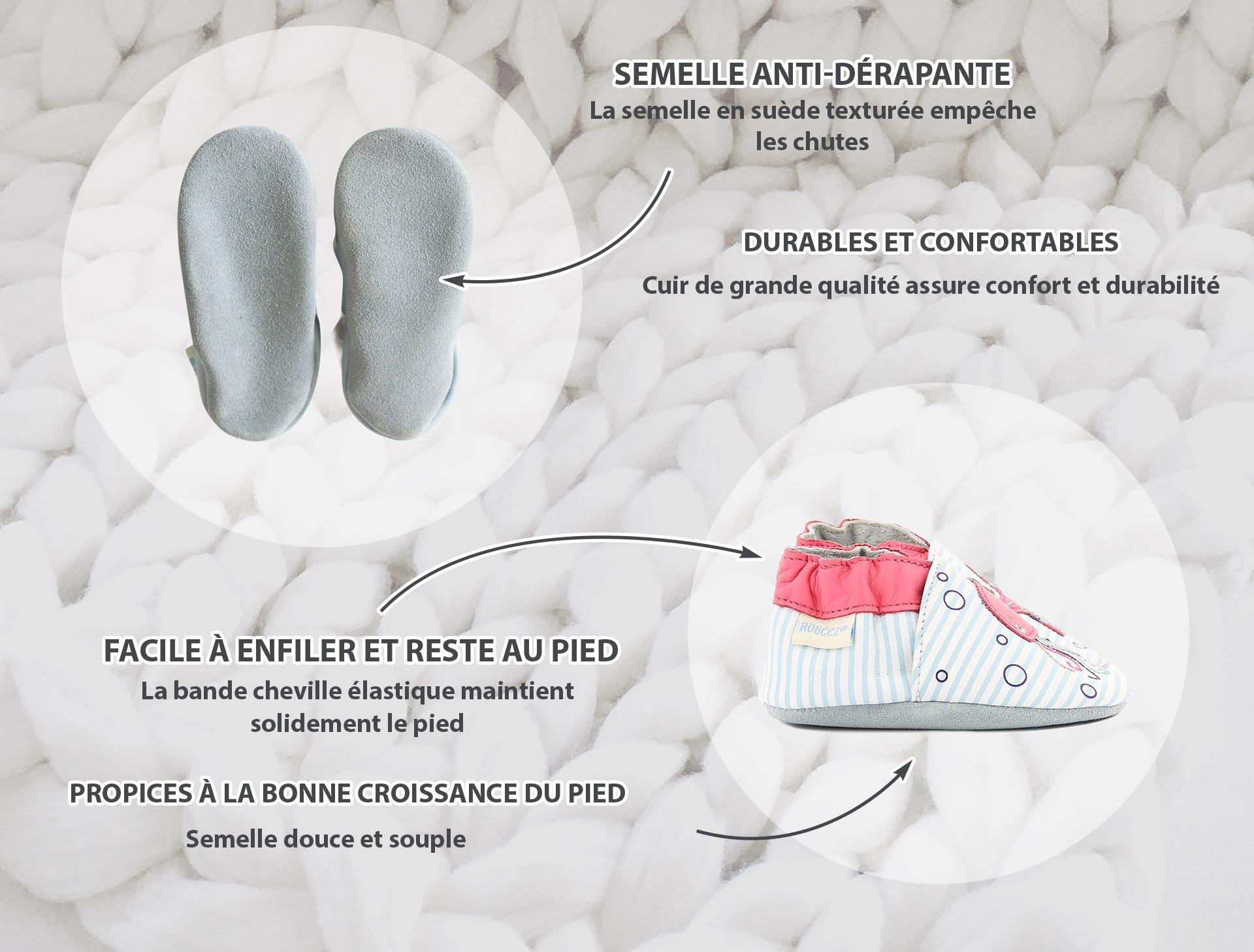 Les chaussons à semelle souple favorisent le développement du pied de bébé
