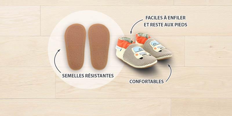 Les chaussons à semelles résistantes pour bébés